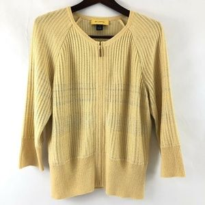 St John Cardigan Sweater Medium Full Zip Yellow